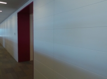 White Lacquered panels with red accents